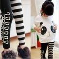 Новый 2014 девушка комплект одежды, Мода девушки панды майка + полосатые гетры 2 шт. комплект, Хлопок детская одежда бесплатная доставка