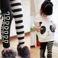 Nuevo 2014 de la ropa, a la moda Girls Panda de la camiseta + de las polainas rayadas 2 unids conjunto, algodón niños ropa envío gratis