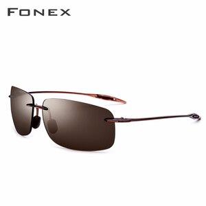 Image 2 - FONEX Ultem TR90 Rimless Sunglasses Men Ultralight High Quality Square Frameless Sun Glasses for Women Nylon Lens 1607