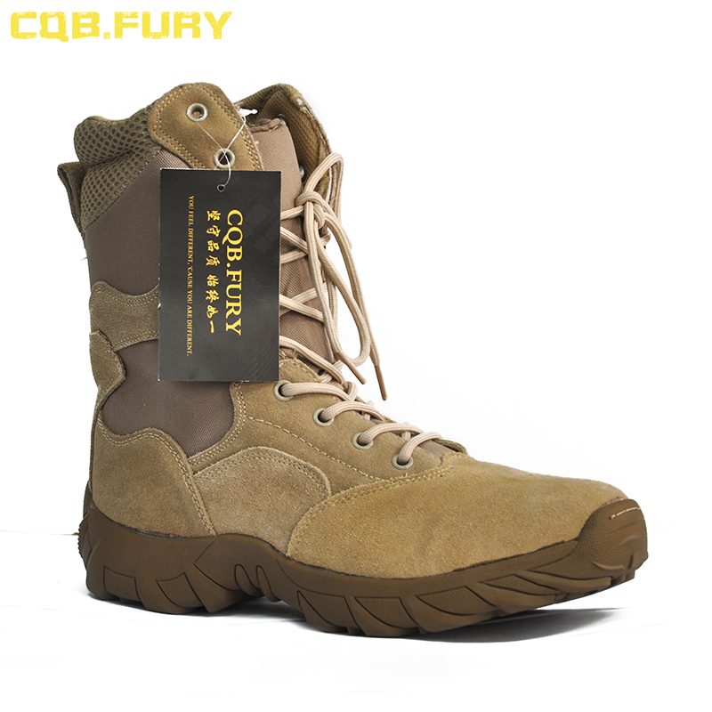 CQB.FURY Autumn Unisex Military Tactical Boots Micro fiber desert combat boot Lace-up army ventilation boots with Side zipper