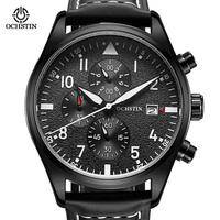 2016 OCHSTIO Casual Men Watches Brand Luxury Leather Men Military Wrist Watches Men Sports Quartz Watch