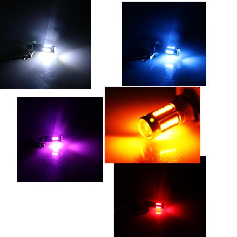 1pair  H3 4014 High Power 1200lm LED White Fog DRL Light Lamp Bulb DC 12V 6000K