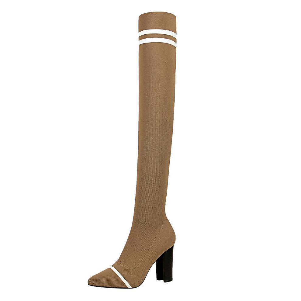 Image 2 - 2019 женские сапоги; осенне зимние сапоги выше колена; модные вязаные эластичные шерстяные сапоги носки; женские сапоги до бедра на высоком каблуке-in Ботфорты from Обувь