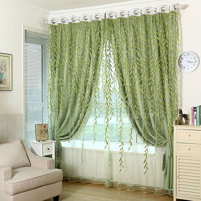1Pcs Green Sheer Curtain For Living Room Window Blackout Curtains Home  Decor Draperies Drapes Organza Flower Part 25