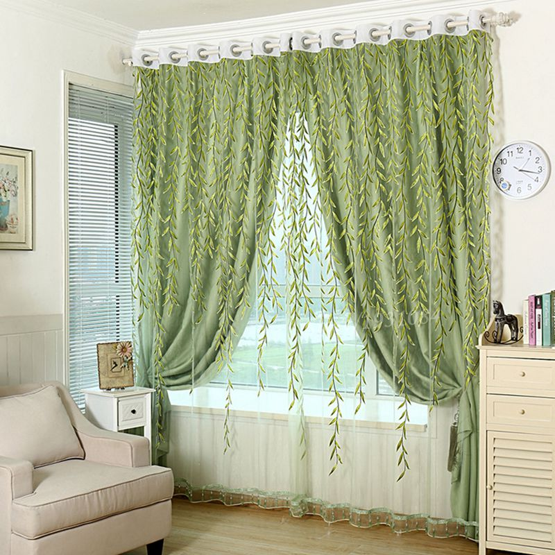 1pcs green sheer curtain for living room window blackout curtains home decor draperies drapes organza flower - Home Decor Curtains
