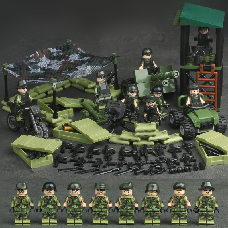 все цены на 4 in 1 Jungle Special Force MILITARY Army WW2 SWAT Camouflage Soldier Building Blocks Brick Figures Toys Compatible With Lego онлайн