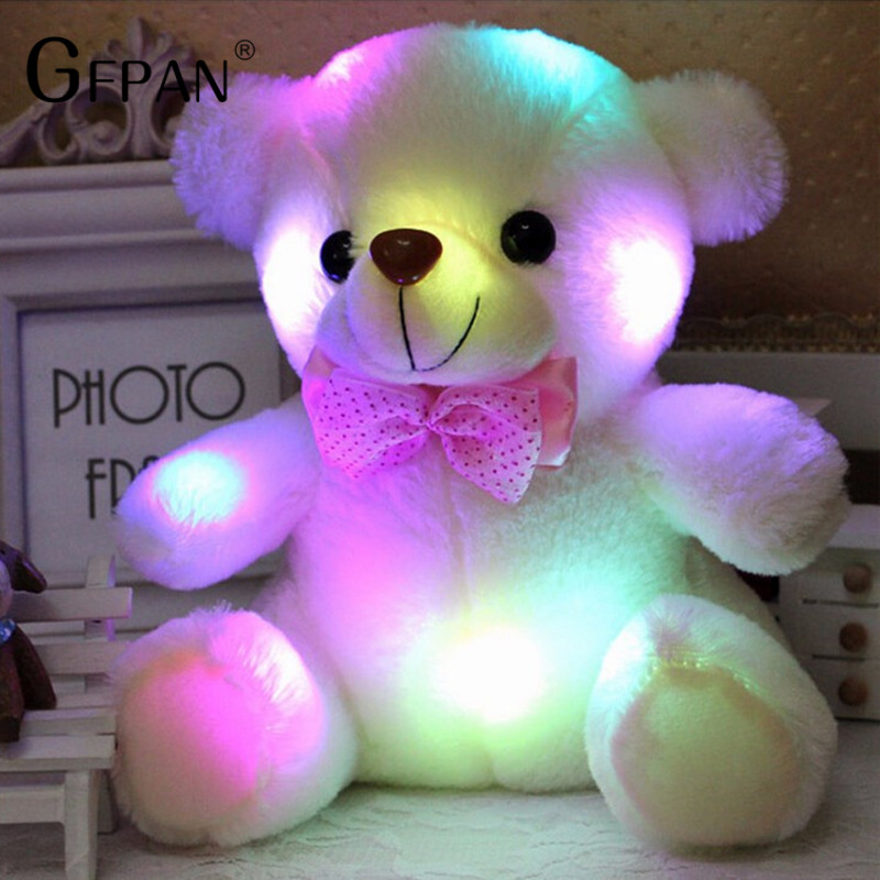 1pc 25cm Luminous Plush Teddy Bear Toys Gleamy Animal Doll lovely bear animals Best Birthday Gift For kids Baby the lovely bow bear doll teddy bear hug bear plush toy doll birthday gift blue bear about 120cm