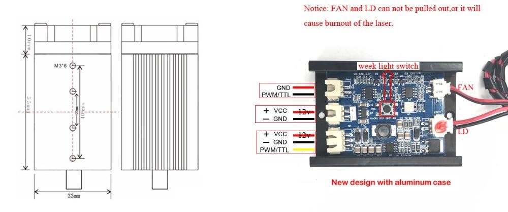 Grabado del módulo láser azul violeta de 500mw 405NM, con diodo de - Piezas para maquinas de carpinteria - foto 2