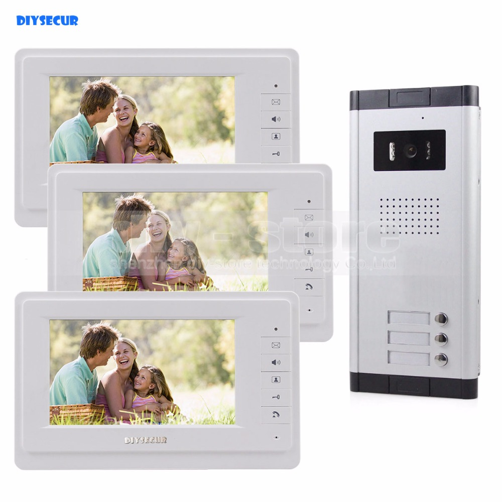 7 Wired Apartment Video Door Phone Audio Visual Intercom Entry System IR Camera For 3 Families