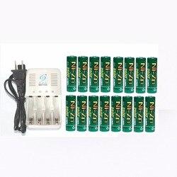Potężny BPI 16 sztuk 1.5V 1.6v aa 2500mWh akumulator nizn ni zn akumulator + 4 ładowarka w Akumulatory od Elektronika użytkowa na