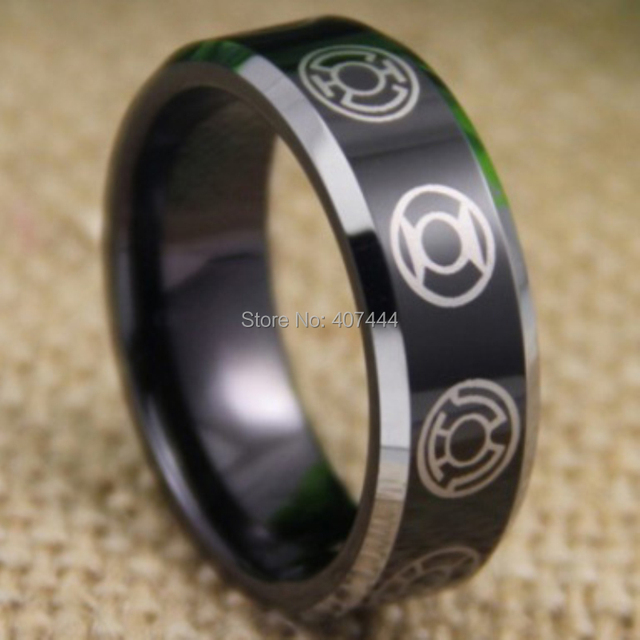 Free Shipping YGK JEWELRY Hot Sales 8MM Comfort Fit Green Lantern Black Silver Edges Mens Tungsten
