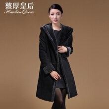 Plus size New Fashion Ladies' fur coat,Elegant Slim lamb wool hooded fur coat Sheepskin fur jacket coats Free shipping FQ6144