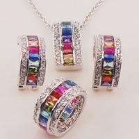 Morganite Blue&Light Blue&Purple&Red Crystal Zircon Garnet 925 Silver Jewelry Set Pendant Earrings Ring size 6to 12
