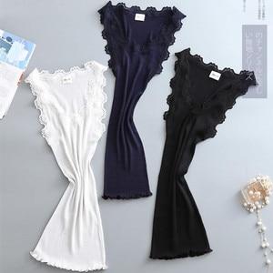 Image 5 - Cotton+ Nature Silk Ladies Fashion Lace Stitching Vest Slim Sexy Elegant Camisoles High Elastic Bottoming Female Tanks