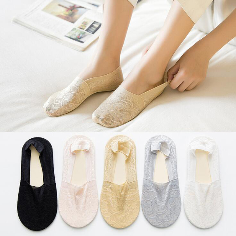 New Summer Ladies Lace Invisible Socks Silicone Non-slip Women Socks