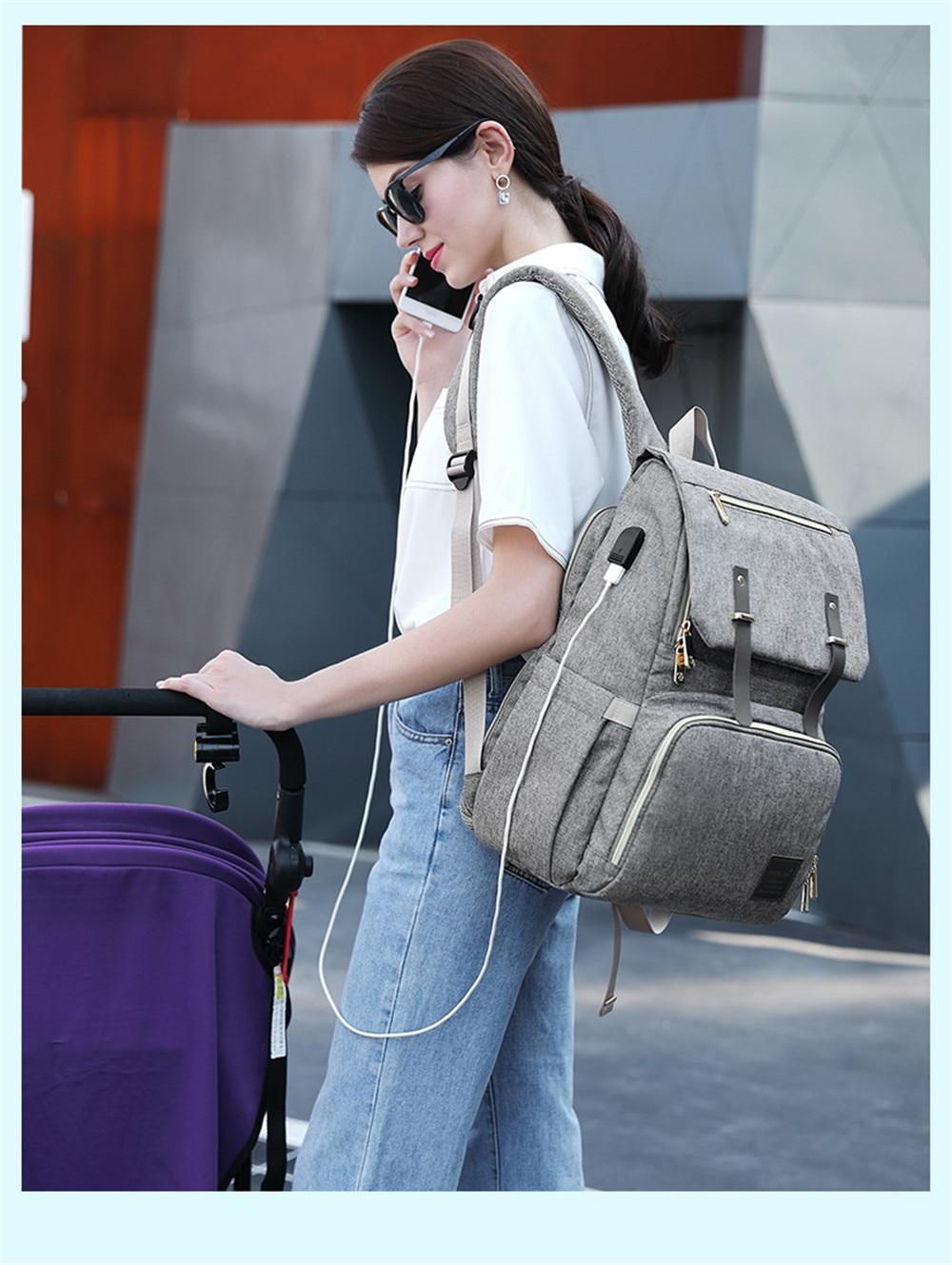 HTB15Fkvah2rK1RkSnhJq6ykdpXam Fashion Large Capacity Baby Nappy Bag Diaper Bag Purse Multifunction USB Mummy Travel Backpack Women Nursing Bags For Mom Daddy