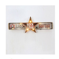 Retro Rock star letters slogan Vintage Creative Guitar musical wall decoration metal tin sign metal music wall art for bar decor