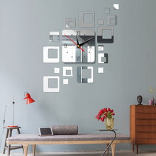 Square 5 Colors Mirror Wall Clock TV Background Diy Mural Home Decor Acrylic Geometry Bedroom Self-Adhesive Living Room