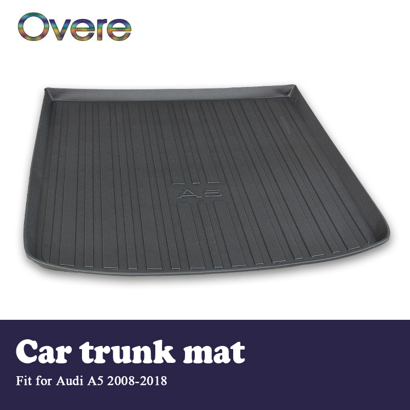 Overe 1Set Car Cargo rear trunk mat For Audi A5 B8 B9 2008 2009 2010 2011 2012 2013 2014 2015 2016 2017 2018 Anti-slip mat car auto accessories rear trunk trim tail door trim for subaru xv 2009 2010 2011 2012 2013 2014 abs chrome 1pc per set