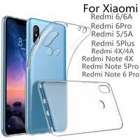 VSKEY 100PCS TPU Phone Case For Xiaomi Redmi Note 6 Pro 5A 4X 4A 6A High Bright Clear Ultra Thin Soft Transparent Silicone Cover