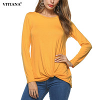 VITIANA Women Casual Shirt 2017 Autumn Black Yellow Solid Color Long Sleeve Loose T Shirt Female