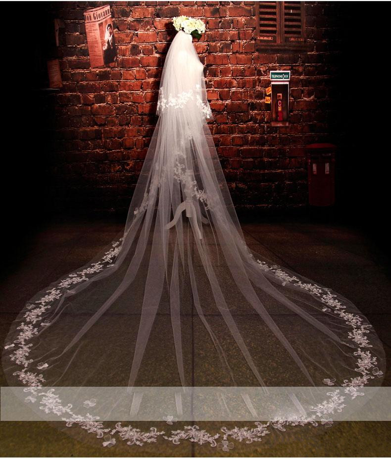 Two Layers White Bridal Veils Cathedral Length Tulle 3m Long Wedding Veils Lace Applique Bride Accessories With Comb