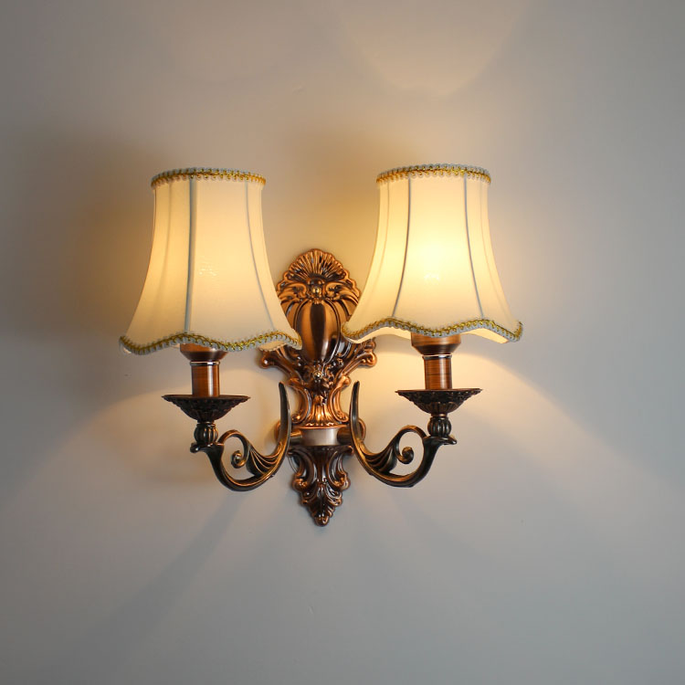 Fashion vintage European iron wall lamp ofhead American red bronze color fabric wall light fixture