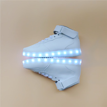 2017 White high-top Lighted trainers shoes Led luminous shoes for men Unisex USB Charging Colorful Glowing Shoes Student Young