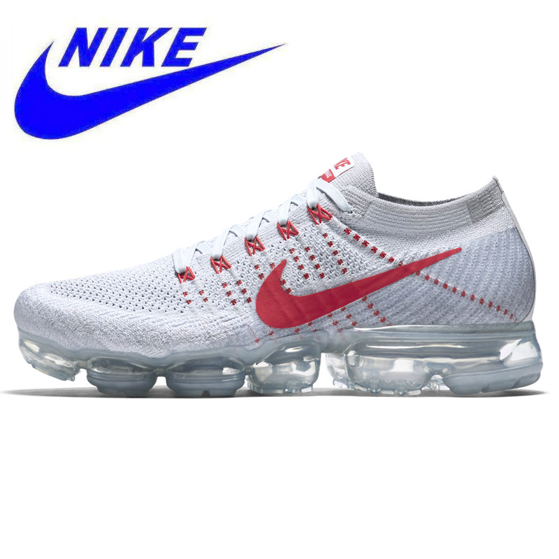 0a5ea94f6a Breathable Nike Air Vapormax Flyknit Men's Running Shoes ,White& Red,  Non-Slip Shock
