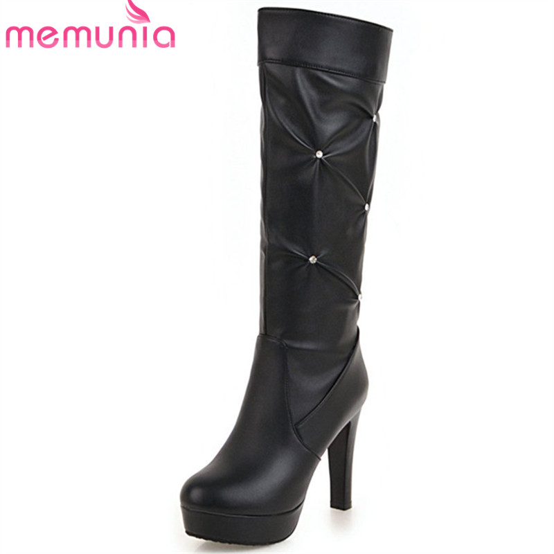 MEMUNIA 2019 new arrival knee high boots women round toe pu autumn winter shoes fashion high heels platform boots female pink
