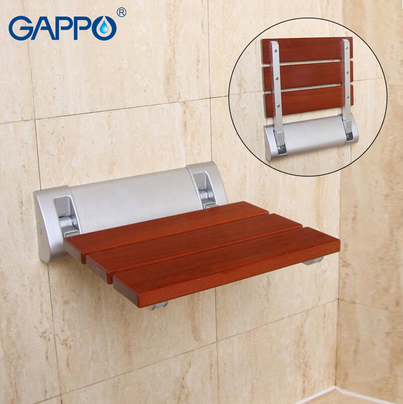GAPPO Wall Mounted Shower Seats Solid wood folding chair bathroom ...