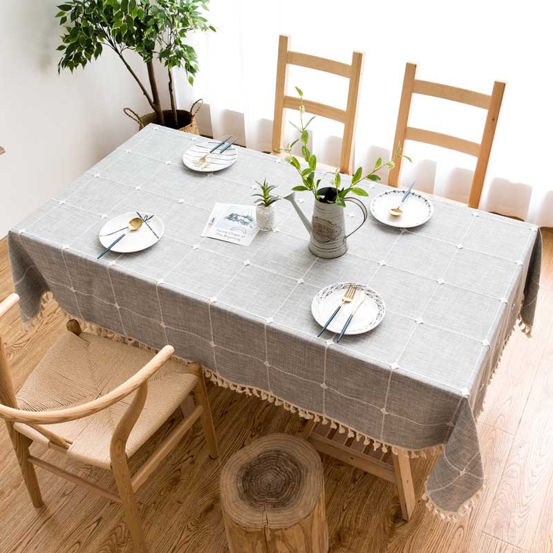 Tassel Table Cloth Carpet Plaid Table Cover Thick Cotton Linen Tablecloth Rectangular Tableclothes Flax Home Dining Table Coat