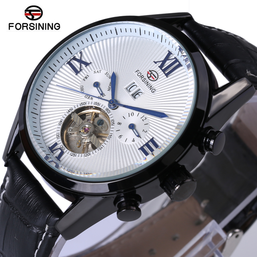 Forsining Men Tourbillon Automatic Mechanical Watch Mens Watches Top Brand Luxury Genuine Leather Wristwatch relogio masculino купить