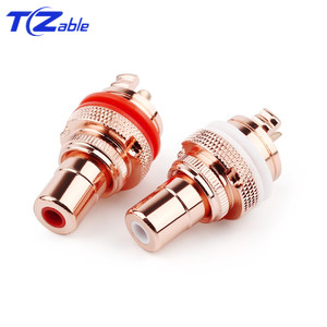 Image 2 - HiFi Plug Connector RCA Audio Connector Female Socket Chassis For CMC Connectors Rhodium Plated Copper Jack Copper Plug