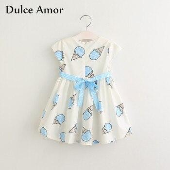 Dulce Amor Summer Cute Girls Dress Kids Baby Girls Clothes Short Sleeve Ice Cream Print Princess Dress Kids Dress For Girl