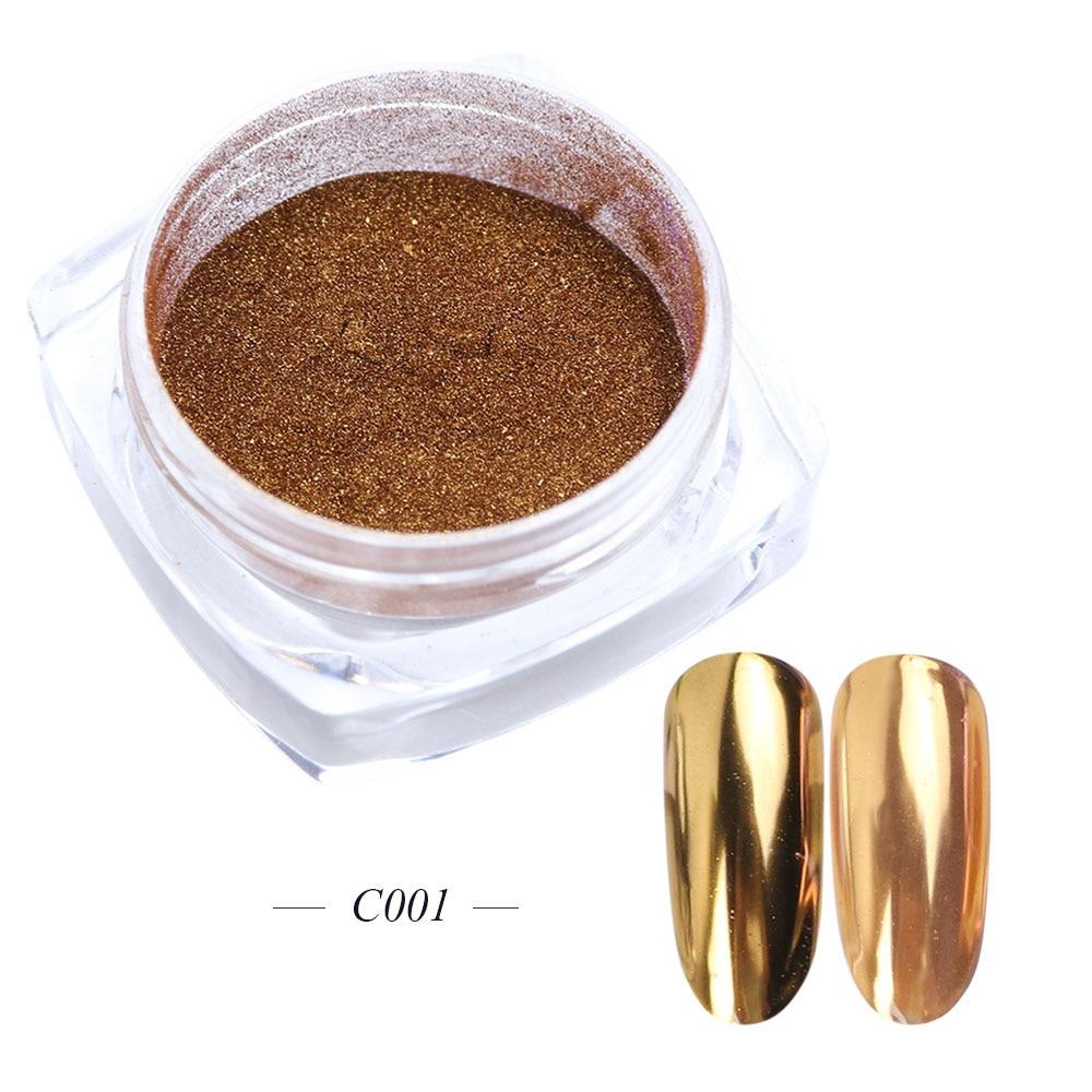 Зеркальный лак для ногтей, порошковая голографическая металлическая розовые, золотые, серебряные пылезащитные блестки, УФ-гель для ногтей, хромированное пигментное украшение CHC/ASX - Цвет: C001