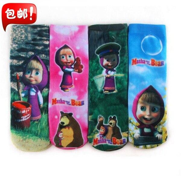 Baby Masha and Bear Cartoon Socks