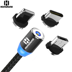 Magnetic Cable Micro Usb Typec Cord Charger Data Sync LED Smart Fast Charging Mobile for Samsung iPhone iPad Xiaomi Huawei redmi