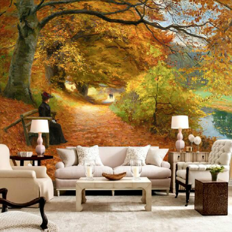 western painting in the background wall 3d wallpaper mural of the path bedroom wallpaper picture TV backdrop autumn купить