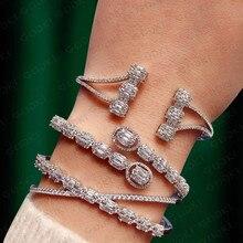 GODKI модный роскошный Штабелируемый браслет для женщин свадебный Полный AAA кубический циркон Кристалл CZ Дубай Серебряный Браслет вечерние ювелирные изделия