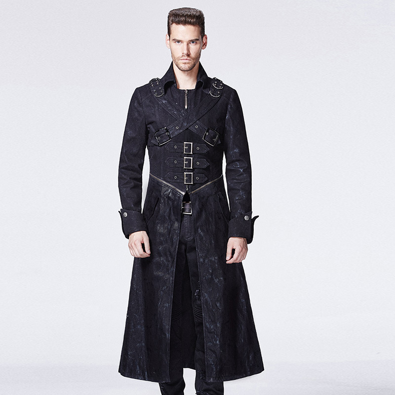 Punk font b Men b font Long Coat Cross Buckle Casual Overcoat Turn down Collar Winter
