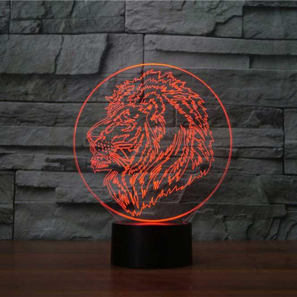7 Colors Changing Bedroom Baby Sleep Lighting 3D Lion Head Modelling Table Lamp Led Animal Night Light Usb Home Decor Kids Gifts