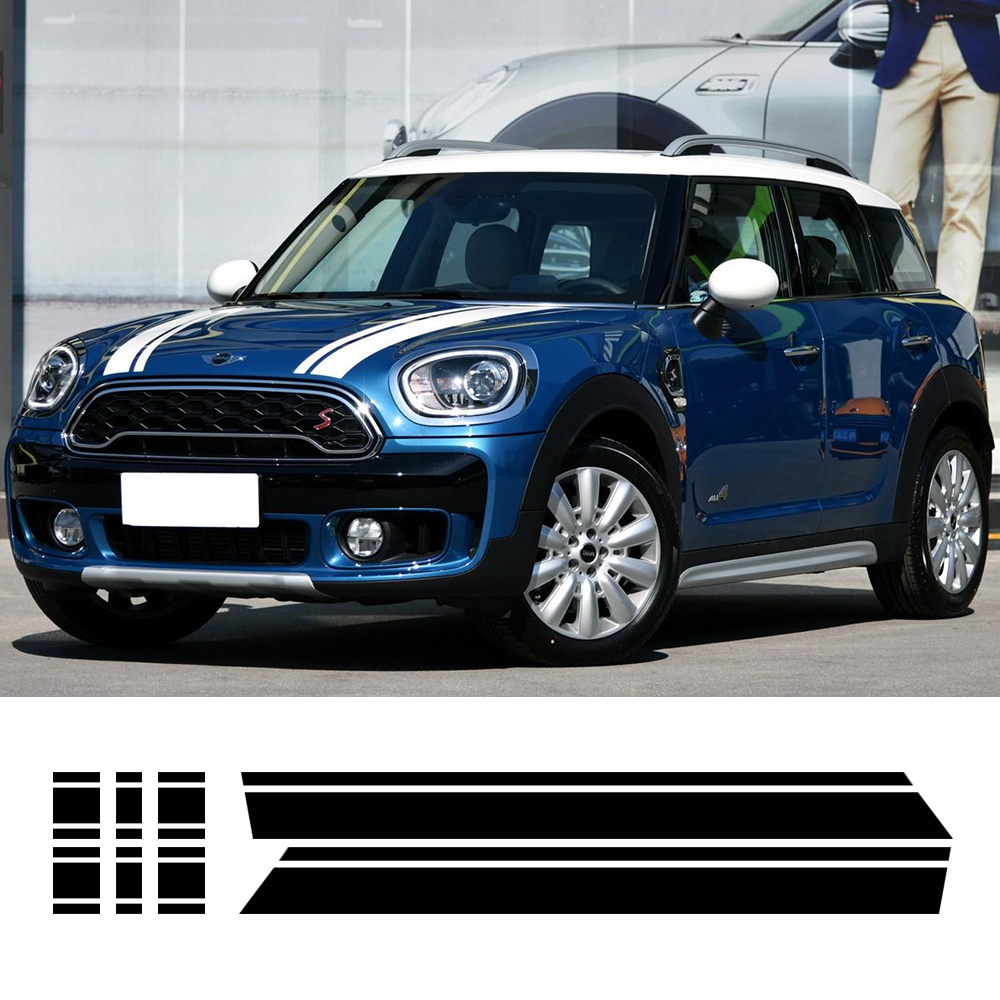 4 colors-Car Hood Bonnet Racing Stripe Engine Cover Trunk Rear Vinyl Decal Stickers for BMW Mini Cooper S Countryman F60 2017 for nissan xterra paladin 2002 2017 rear trunk security shield cargo cover high quality car trunk shade security cover