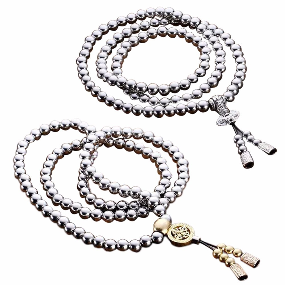 Outdoor Stainless Steel 108 Buddha Beads Necklace Chain Titanium Steel Metal Self Defense Accessories