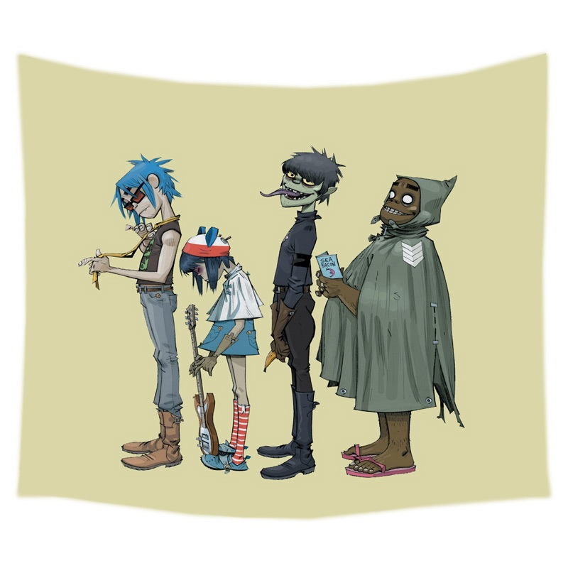 Gorillaz Pattern Tapestry Decorative Wall Hanging Carpet Bedding ...