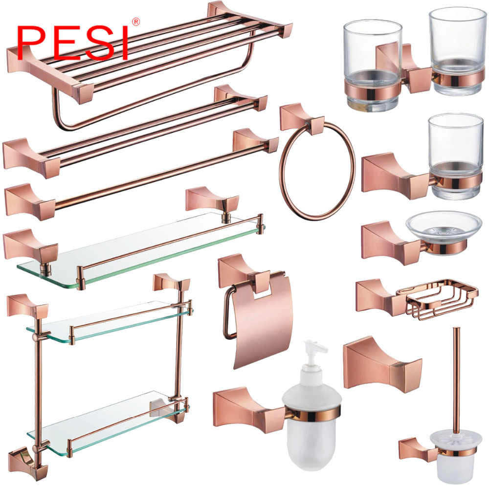 Messing Bad Hardware Set Robe Haken Handtuch Schiene Rack Bar Regal Papier Halter Zahnbürste Halter Bad Zubehör, rose Gold.