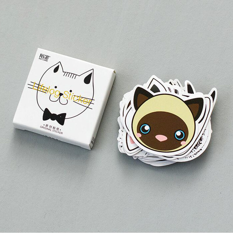 45 Pcs / Box Hello Kitty Carter Stickers My Head Animals Cute Emoticons Touch Small Petals Stickers