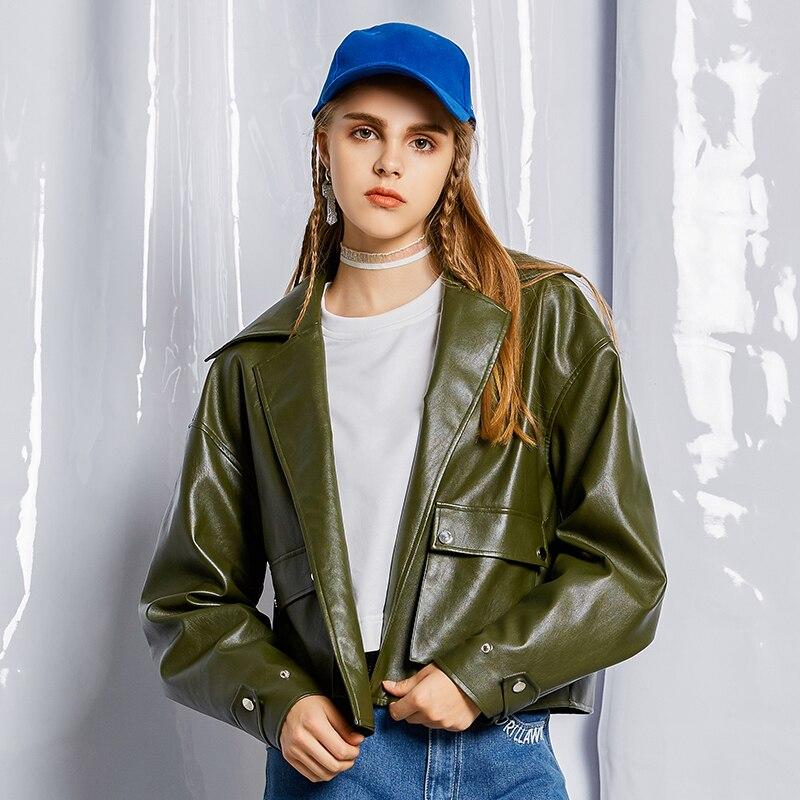 down Vert Rétro 2019 Biker Streetwear Faux Turn Cuir Pu Veste Armygreen Vestes Femmes Printemps Armée Col En Mode Nouveau pAf5HqwxO