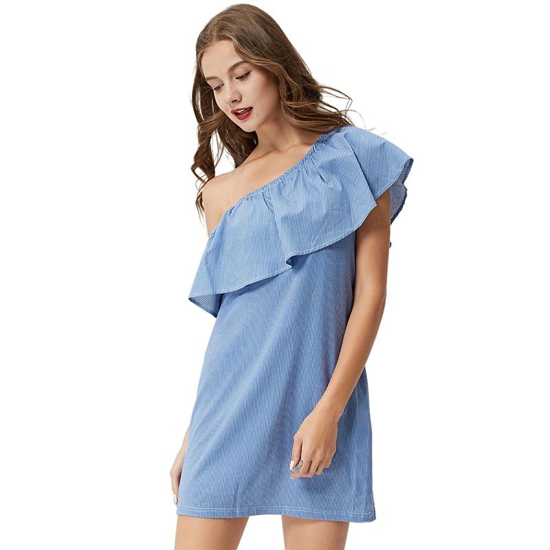 GLO-STORY Sommerblå stribe Mini kjole 2018 Kvinder Asymmetrica One - Dametøj - Foto 3