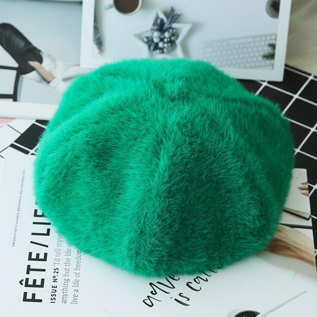 664dfad59e2 2018 Korean Hairy Wool Beret Hat Women French Cap Autumn Winter ...
